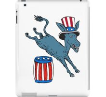 Democrat Donkey Mascot Jumping Over Barrel Cartoon iPad Case/Skin