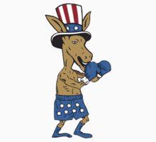 Democrat Donkey Boxer Mascot Cartoon by patrimonio