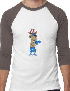 Democrat Donkey Boxer Mascot Cartoon Men's Baseball ¾ T-Shirt