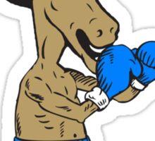 Democrat Donkey Boxer Mascot Cartoon Sticker
