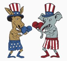 Democrat Donkey Boxer and Republican Elephant Mascot Cartoon by patrimonio