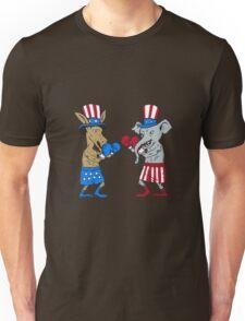 Democrat Donkey Boxer and Republican Elephant Mascot Cartoon Unisex T-Shirt