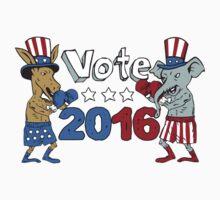 Vote 2016 Donkey Boxer and Elephant Mascot Cartoon by patrimonio