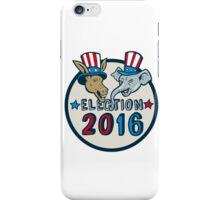 US Election 2016 Mascot Donkey Elephant Circle Cartoon iPhone Case/Skin