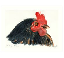 Black and brown hen Art Print