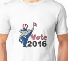 Vote 2016 Republican Mascot Waving Flag Cartoon Unisex T-Shirt