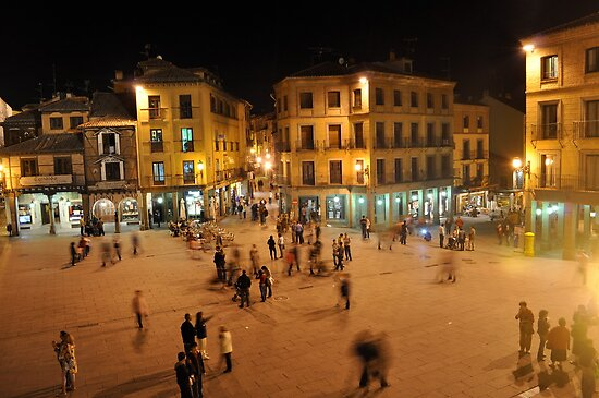 Busy Plaza in Segovia, Spain by kweirich