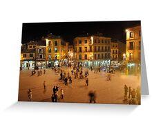 Busy Plaza in Segovia, Spain Greeting Card