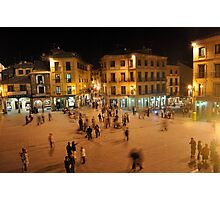 Busy Plaza in Segovia, Spain Photographic Print