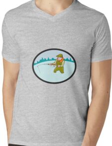 Fly Fisherman Casting Fly Rod Oval Cartoon Mens V-Neck T-Shirt