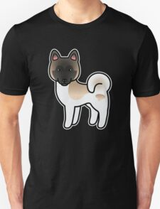 Fawn Pinto Akita Dog Cartoon T-Shirt