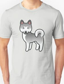 Silver Akita Dog Cartoon T-Shirt