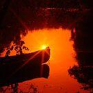 Juniper Run Canoe Sunset by Bob Moore