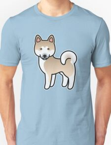 Fawn With White Mask Akita Dog Cartoon T-Shirt