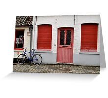 Red Windows and Doors and Blue Bike in Bruges Greeting Card