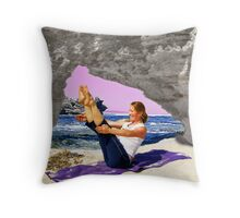 Yoga by the sea Throw Pillow