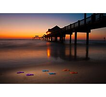 """""""Small Steps"""" - flip flops on Clearwater Beach, Florida Photographic Print"""