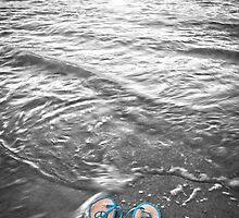 """Peace Walk"" - peace flip flops on beach by John Hartung"