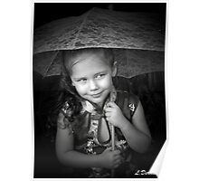 Little Girl With Lace Umbrella   Poster