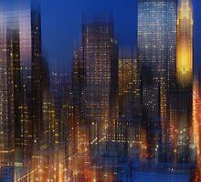 The city lights at night by Angela King-Jones