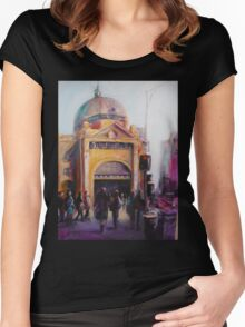 Morning bustle Flinders street Station Melbourne Women's Fitted Scoop T-Shirt