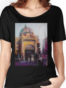 Morning bustle Flinders street Station Melbourne Women's Relaxed Fit T-Shirt