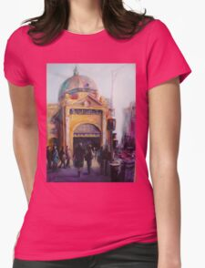 Morning bustle Flinders street Station Melbourne Womens Fitted T-Shirt