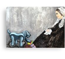 Woman with Robotic Dog Canvas Print