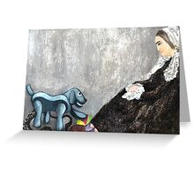 Woman with Robotic Dog Greeting Card