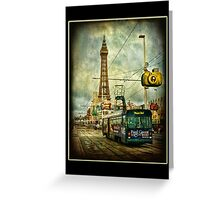 Blackpool Promenade and Tram. Greeting Card