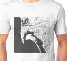 San Diego Map Gray Unisex T-Shirt