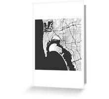 San Diego Map Gray Greeting Card
