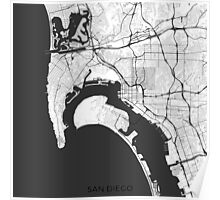 San Diego Map Gray Poster