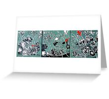 Tryptic Flower Woodcut Print Greeting Card