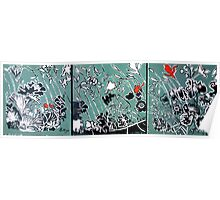 Tryptic Flower Woodcut Print Poster