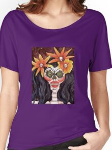 Calavera Chica with Orange Skull Flowers Dia de los Muertos Women's Relaxed Fit T-Shirt