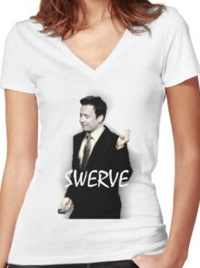 Fallon Swerve White Women's Fitted V-Neck T-Shirt