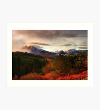 Snowy Scottish Mountain peaks Art Print
