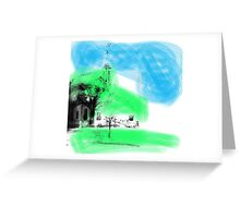 Larravide Temple Blue and Green  Greeting Card