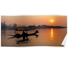 Sunset at Dal Lake Poster