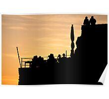 Silhouette Sunset in Riomaggiore, Italy Poster