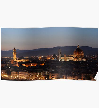 Florence Night Skyline from Piazza Michelangelo Poster
