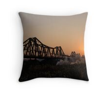 Long Bien Bridge Serenate Throw Pillow