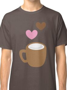 LOVE COFFEE funky retro simple coffee cup with love heart Classic T-Shirt