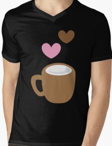 LOVE COFFEE funky retro simple coffee cup with love heart Mens V-Neck T-Shirt