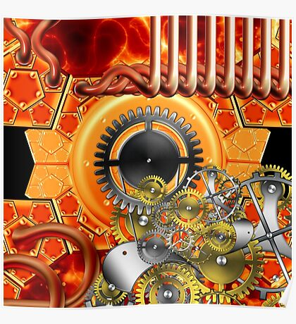 abstract steampunk machine  Poster