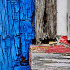 red white and blue  (window pane) by Karen  Betts