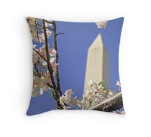 Framing Washington with Blossoms Throw Pillow