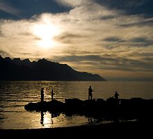 Fishing at sunset - Lake Geneva by Philippe Julien