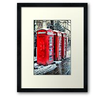 Three Telephone Boxes Framed Print